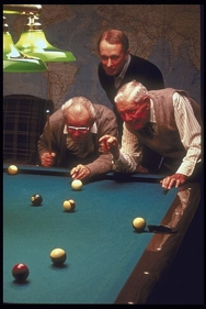 Young and Old enjoy playing pool